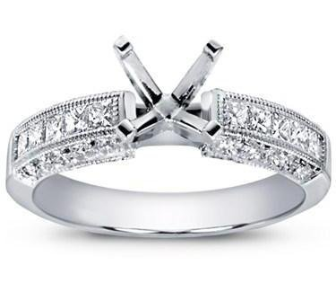 1.25 ct Ladies Round & Princess Cut Diamond Semi Mount Ring in Platinum in Size 7.5