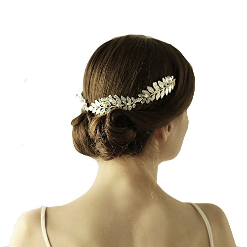 Greek Goddess Headband Gold Leaf Crown Headpiece - Roman Costume Accessories Bridal Wedding Tiaras and Crowns for Women with Pearl Headbands (Silver) (Girl Greek)