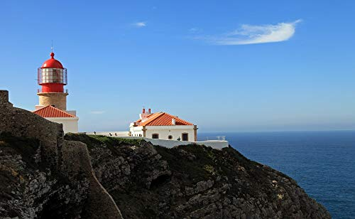 Home Comforts Canvas Print Portugal West Coast Atlantic Lighthouse Vivid Imagery Stretched Canvas 32 x 24