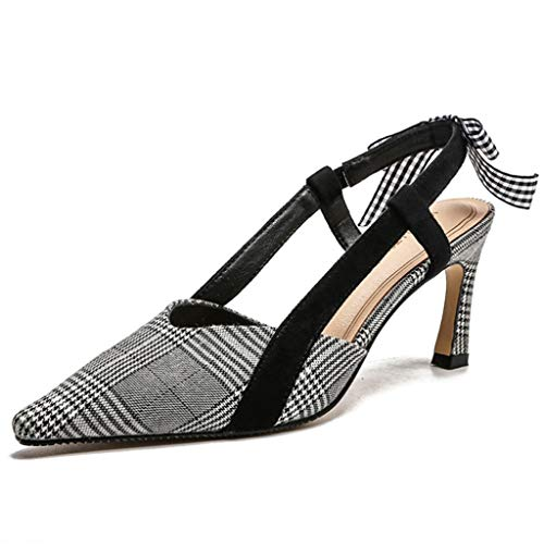 Houndstooth Pump Heel High (Pointed Houndstooth Fashion High Heel Sandals Bows Slim Women's High Heels Wild (Color : Gray, Size : 7.0 US))
