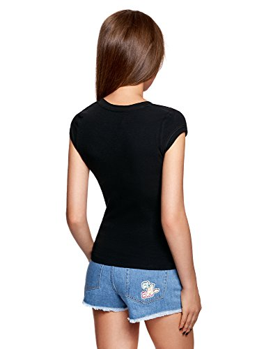 oodji Ultra Mujer Camiseta Básica Negro (2900N)