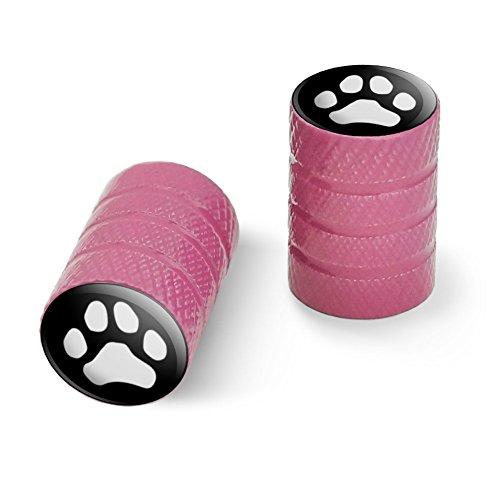 オートバイ自転車バイクタイヤリムホイールアルミバルブステムキャップ - ピンク Pawプリント犬猫ホワイト(ブラック)