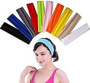 SUMAJU 10 Pcs Yoga Headband, Cotton Headbands Elastic Stretch Headband Sports Women Headband Sweat Band for Yo