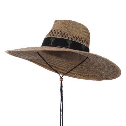 UV 50+ Designed Band Wide Brim Straw Hat - Palm Black OSFM -
