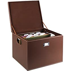 G.U.S. Decorative Office File and Portable Storage Box For Hanging Folders Letter Or Legal, Brown