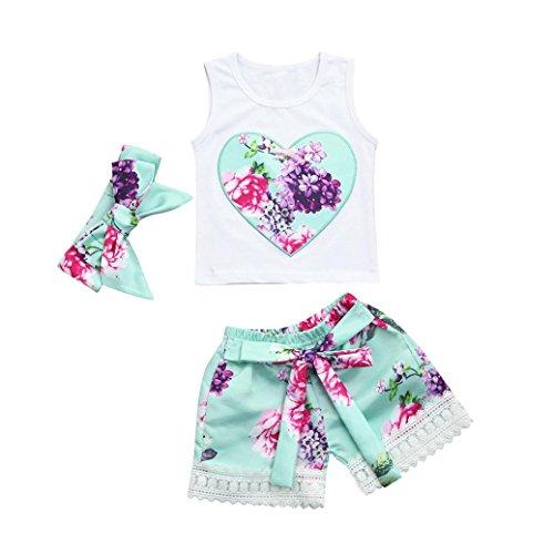 b7f6ff020 Durable Modelando Zolimx 3Pcs Bebé Recién Nacido Niñas Ropa Floral Conjunto  Tops + Pantalones Cortos +