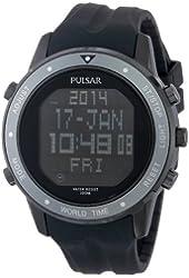 Pulsar Men's PQ2019 Digital Display Japanese Quartz Black Watch
