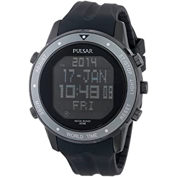 Pulsar Mens PQ2019 Digital Display Japanese Quartz Black Watch