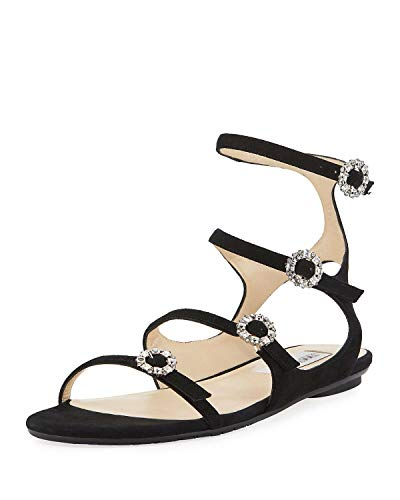 JIMMY CHOO Naia Suede Flat Sandal with Crystal Buckles, Black 37.5