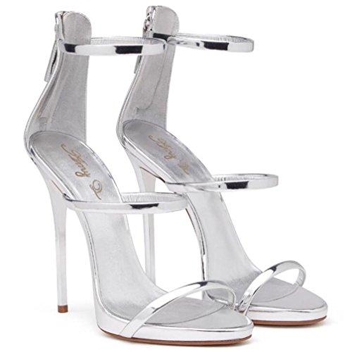 35 aiguille à Cheville bretelles 44 Des Talon Cuir Fête EU37 pour xie SILVER Robe Rome Taille Les Chaussures sandales club femmes vqwpq4IxaT