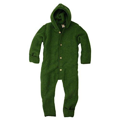 Engel 100% Organic Fleece Merino Wool Overall Romper Made in Germany (74/80 (6-12 Months), Green Melange)