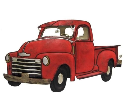 Vintage Red Metal Truck Wall Decor Classic American Style Kids Room Man Cave Garage by Nikkycozie (Image #1)