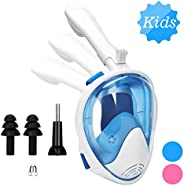 Oumers Newest Version Kids Full Face Snorkel Mask, 180° Panoramic View Snorkeling Mask Set with Safety Free-Br