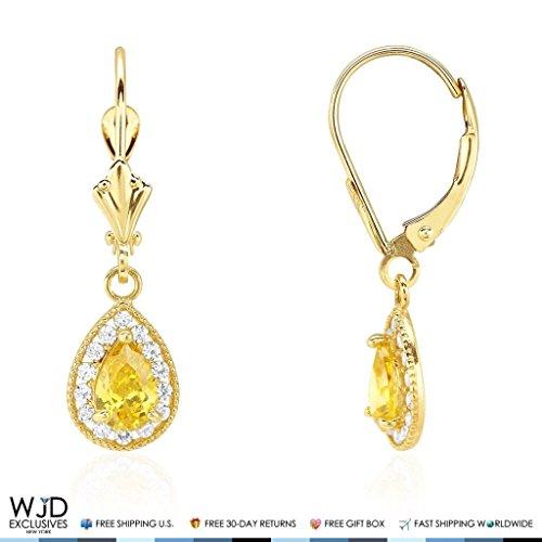 14K Yellow Gold Simulated Birthstone Milgrain Halo Teardrop Dangle Leverback Earrings, Citrine ()