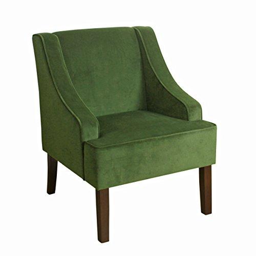 HomePop  Velvet Swoop Arm Accent Chair, Dark Green