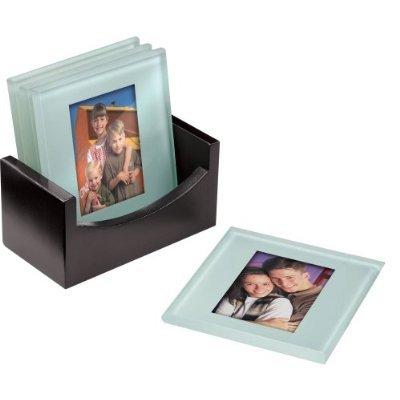 Cherished Accents Glass Photo Coasters, with Storage Rack: Amazon.co ...