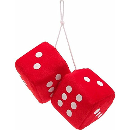 "Vintage Parts 14555 3"" Red Fuzzy Dice with White Dots - Pair"