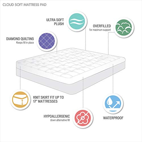 Madison Park Cloud Soft Overfilled Plush Bed Protector Waterproof Mattress Cover Queen White
