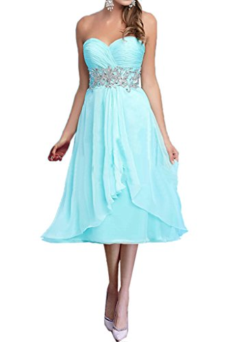 Chiffon Braut Brautmutterkleider Abendkleider Blau Blau Damen Partykleider Traegerlos mia Kurz Hell Hell La Y5x1Fqz4
