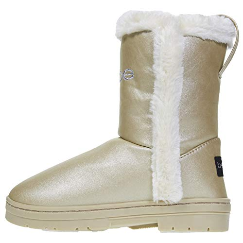 Gold Trim Boots (bebe Girls Pearlized Winter Boots Size 12 with Faux Fur Trims Casual Shoes)