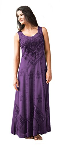 HolyClothing Ena Empire Waist Satin Lace Renaissance Gothic Sun Dress - X-Large - Purple Passion