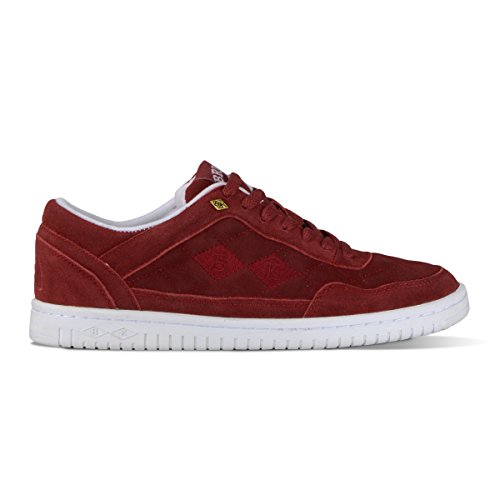 British Knights Quilts Men's Quilted Suede Oxford Sneaker Burgundy/White, 9.5