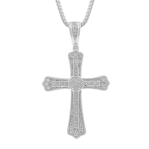 1.05ct Diamond Cross Religious Mens Hip Hop Pendant Necklace in 925 Silver (I-J, I2-I3) by Isha Luxe-Hip Hop Bling