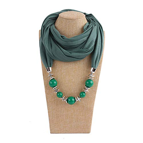 Necklace soAR9opeoF Fashion Women Big Round Beads Pendant Solid Color O Ring Scarf Necklace Jewelry - Army Green
