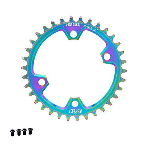 Fightsong Bicycle Sprocket Wheel Titanium Alloy Aluminum Plate Crankset for Pass Quest m6000/m7000/m8000/m9000 Single Plate BCD96 32/34/36/38/40/42/44/46/48T