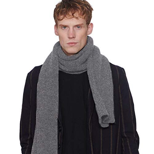 CACUSS Men's Winter Long Thick Cable Knitted Scarf Soft Warm Scarves for Cold Weather Black (Gray)