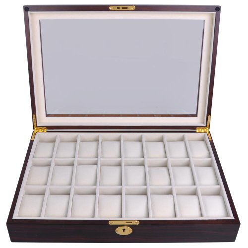 Ebony Wood Glass Top 24 Watch Slots Display Case 17-in L Jewelry Box Wristwatch Organizer w Gold Accents
