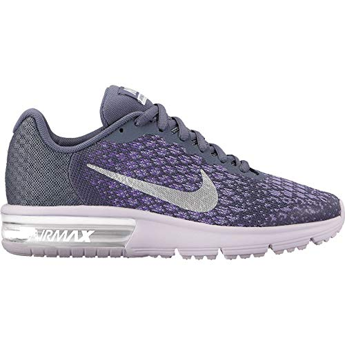 Nike Girl's Air Max Sequent 2 Running Shoe Light Carbon/Metaillic Silver-Hyper Grape (5)
