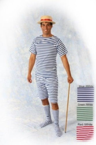1920s Men's Bathing Suit Costume (Bathing Suit Men 20s Adult Costume - Medium)