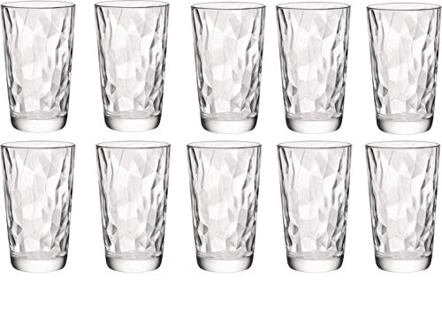 Circleware 40156 Cabrini Set of 10 Highball Tumbler Drinking Glasses Glassware Beverage Ice Tea Cups for Water, Juice, Milk, Beer 15.7 oz 10pc