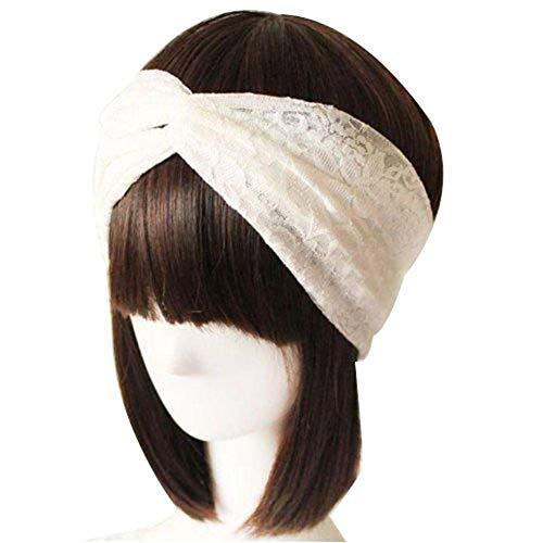 Women Lace Retro Turban Twist Head Wrap Headband Headscarf Twisted Knotted Soft Hair Band (1 White)
