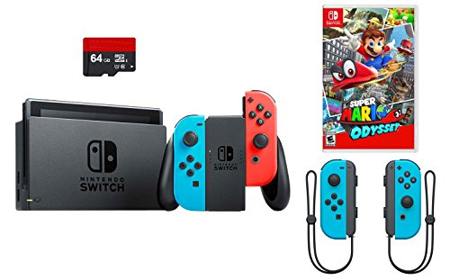 Nintendo Switch 4 items Bundle:Nintendo Switch 32GB Console Red and Blue,64GB Micro SD and an Extra Pair of Nintendo Joy-Con (L/R) Wireless Controllers Neon Blue, Super Mario Odyssey Game - Nintendo Console Parts 64