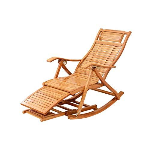 Boyishengshi Modern Bamboo Rocking Chair Recliner with Ottoman Indoor/Outdoor Lounge Deck Chair Bamboo Furniture Reclining Rocker ()