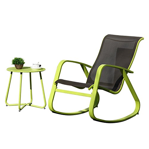 - Grand patio Rocking Chair and Round Bistro Table,1 Set,Wide Lemon Green Aluminum Steel Frames,for Garden|Indoor|Outside,Black Backrest