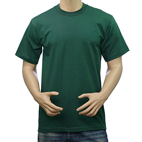 Pro Club Men's Heavyweight Cotton Short Sleeve Crew Neck T-Shirt (Forest Green, 3X-Large