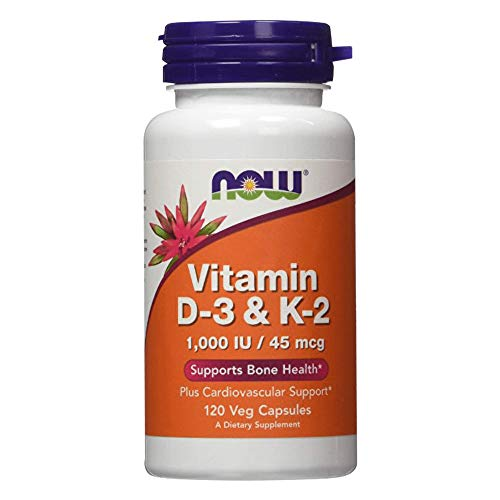 Now Foods Supplements Vitamin D3 K2 1000 IU45 mcg Plus Cardiovascular Support Supports Bone Health Veg Capsules, Orange…