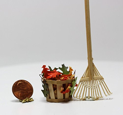 Dollhouse Miniature 1:12 Leaf Rake w/Small Basket of Autumn or Fall Leaves