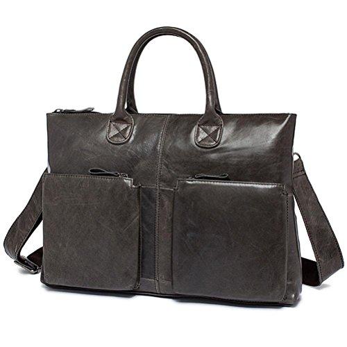 GTUKO Business Männer Aktentaschen Aus Echtem Leder Laptoptasche Casual Mann Tasche Aktentasche Schultertasche 502 , Schwarz grau