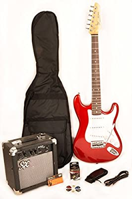 SX RST 3/4 CAR Short Scale Red Electric Guitar Package with Amp, Carry Bag and On Line Lessons