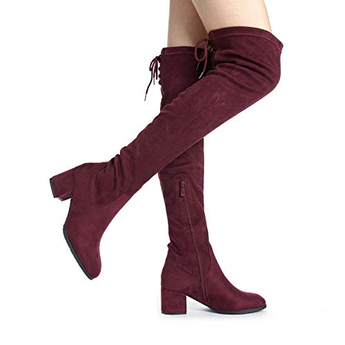 DREAM PAIRS Women's Over The Knee Thigh High Chunky Heel Boots