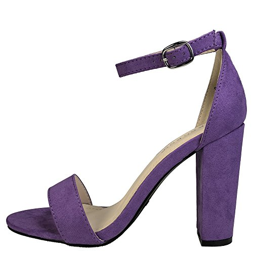 Bamboo Womens Single Band Chunky Heel Sandal With Ankle Strap Purple Faux Suede 2kw51bcQr