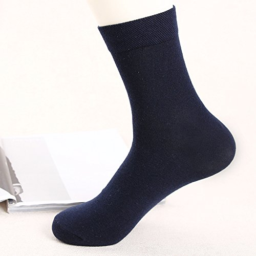 (Wanglele Autumn And Winter Pure Color Men'S Hose Socks, Skin, Men'S Business Socks, Sweat, Breathable, Deodorant, Anti Friction Socks Ten Pairs,Tibet Navy)