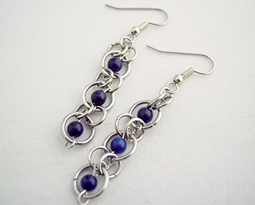 Lapis Lazuli Chainmaille Stainless Steel Earrings Blue