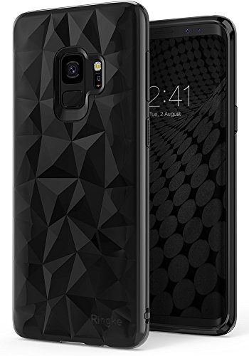 Galaxy S9 Case, Ringke [AIR PRISM] 3D Vogue Design Chic Ultra Rad Pyramid Stylish Diamond Pattern Flexible Jewel-Like Textured Protective TPU Drop Resistant Cover for Samsung Galaxy S9 - Ink Black - Tpu Diamond Pattern
