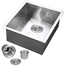 "Voilamart 17"" x 17"" Single Bowl Handmade Stainless Steel Kitchen Sink 19 Gauge - Undermount Topmount Flushmount - Laundry Utility Sink"