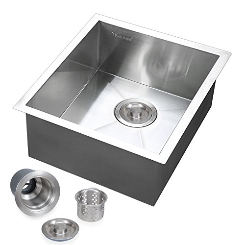 Voilamart 17'' x 17'' Single Bowl Handmade Stainless Steel Kitchen Sink 19 Gauge - Undermount Topmount Flushmount - Laundry Utility Sink by Voilamart